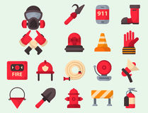 Fire safety equipment emergency tools firefighter safe danger accident protection vector illustration. Fire safety equipment emergency icons firefighter symbols Stock Photos