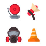 Fire safety equipment emergency tools firefighter safe danger accident protection vector illustration. Stock Photo
