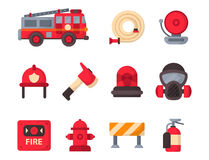 Fire safety equipment emergency tools firefighter safe danger accident protection vector illustration. Royalty Free Stock Photo