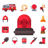 Fire safety equipment emergency tools firefighter safe danger accident protection vector illustration. Fire safety equipment emergency icons firefighter symbols Stock Photo