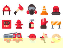 Fire safety equipment emergency tools firefighter safe danger accident protection vector illustration. Fire safety equipment emergency icons firefighter symbols Stock Photography