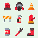 Fire safety equipment emergency tools firefighter safe danger accident protection vector illustration. Fire safety equipment emergency icons firefighter symbols Royalty Free Stock Photos