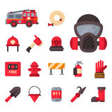 Fire safety equipment emergency tools firefighter safe danger accident protection vector illustration. Stock Photos