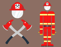 Fire safety equipment emergency tools firefighter safe danger accident protection vector illustration. Fire safety equipment emergency icons firefighter symbols Royalty Free Stock Image
