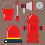 Fire safety equipment emergency tools firefighter safe danger accident protection vector illustration. Stock Images