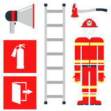 Fire safety equipment emergency tools firefighter safe danger accident protection vector illustration. Fire safety equipment emergency icons firefighter symbols Stock Image
