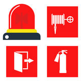 Fire safety equipment emergency tools firefighter safe danger accident protection vector illustration. Fire safety equipment emergency icons firefighter symbols Royalty Free Stock Images