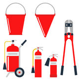 Fire safety equipment emergency tools firefighter safe danger accident protection vector illustration. Fire safety equipment emergency icons firefighter symbols Royalty Free Stock Photography