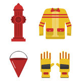 Fire safety equipment emergency tools firefighter safe danger accident protection vector illustration. Fire safety equipment emergency icons firefighter symbols Royalty Free Stock Photo