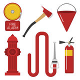 Fire safety equipment emergency tools firefighter safe danger accident protection vector illustration. Stock Image