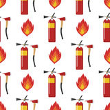 Fire safety equipment emergency tools firefighter seamless pattern safe danger accident protection vector illustration. Fire safety equipment emergency Stock Photography