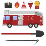 Fire safety equipment emergency tools. Fire safety equipment emergency icons firefighter symbols safe danger accident flame protection vector illustration Stock Photography