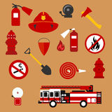Fire safety, firefighter and protection flat icons. Fire safety and protection background with flat icons of fire truck, extinguishers, hose, fire flame Royalty Free Stock Photography