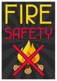 Fire safety. Firefighting poster do not light bonfire Stock Photography