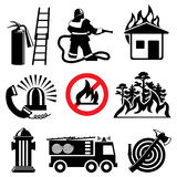 Fire safety icons. Set of  icons stencil. Fire safety and means of salvation Stock Image