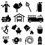 Fire safety icons. Fire safety icon set in black Stock Photo