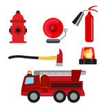 Fire safety icons set isolated on white background. Fire extinguisher, hydrant, fire alarm, ax and fire truck. Royalty Free Stock Image