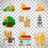 Fire safety infographic on transparent background. Fire risk icons. Fire in home and building, forgot fire vector signs for insurance and fire safety infographic Stock Photos