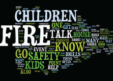Fire Safety For Kids Word Cloud Concept. Fire Safety For Kids Text Background Word Cloud Concept Stock Image