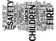 Fire Safety And Kids Word Cloud Concept. Fire Safety And Kids Text Background Word Cloud Concept Royalty Free Stock Images