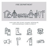 Fire safety line icons. Set icons outline fire safety. Flame, truck, fire extinguisher, firefighter. Suitable for banners, business cards, web sites Stock Photo