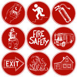 Fire safety and means of salvation. Icons set. Fire safety and means of salvation. Set of vector hand drawn icons in circles with red background Royalty Free Stock Photo