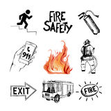 Fire safety and means of salvation. Icons set. Fire safety and means of salvation. Set of vector hand drawn icons isolated on white background Royalty Free Stock Images