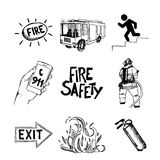 Fire safety and means of salvation. Icons set. Fire safety and means of salvation. Set of vector hand drawn icons isolatet on white background Royalty Free Stock Photo