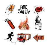 Fire safety and means of salvation. Icons set. Fire safety and means of salvation. Set of vector hand drawn icons  on white background Stock Images