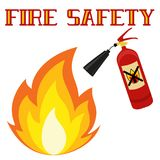 Fire safety poster isolated on white background. Bright colorful fire extinguisher vector illustration can be used as sticker, badge, sign, stamp, logo, banner Stock Photo