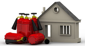 Fire safety real estate. Symbol of the house and fire extinguishers are on the white surface. Property fire safety concept. Isolated. 3D Illustration Stock Photo