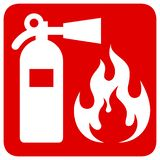 Fire safety. Red rectangle sign  stock illustration