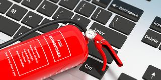 Fire extinguisher on computer keyboard with text label. 3d illustration. Fire safety, Red fire extinguisher on computer keyboard, with text label,  top view. 3d Royalty Free Stock Photos