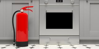 Fire extinguisher on house kitchen floor. 3d illustration. Fire safety, Red fire extinguisher on house kitchen floor. 3d illustration Royalty Free Stock Photos