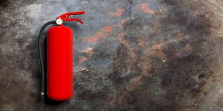 Fire extinguisher isolated on metal rusty background. 3d illustration. Fire safety, Red fire extinguisher isolated on metal rusty background. 3d illustration Stock Photos