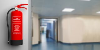 Fire extinguisher on a wall, blur hospital corridor background. 3d illustration. Fire safety, Red fire extinguisher on wall, blur hospital corridor background Stock Image