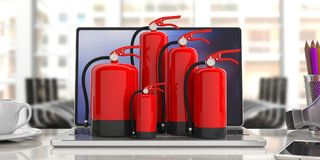 Fire extinguisher on computer, blur office background. 3d illustration. Fire safety, Red fire extinguishers, various sizes, on computer, blur office background Stock Photography