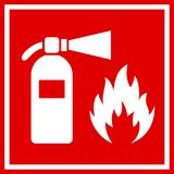 Fire safety red vector banner. Isolated on white background Stock Image