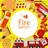 Fire safety round pattern vector illustration. Firefighting equipment and tools firehose hydrant, alarm, bollard and. Fire safety round pattern vector royalty free illustration