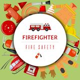 Fire safety round pattern vector illustration. Firefighting equipment and tools firehose hydrant, alarm, bollard and. Fire safety round pattern vector stock illustration