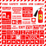 Fire safety. Signs and plates for fire safety Stock Image