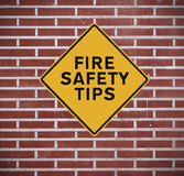 Fire Safety Tips. A sign indicating fire safety tips Stock Photography