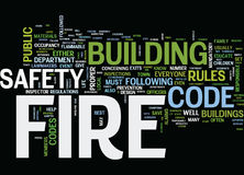 Fire Safety Under The Fire Code Word Cloud Concept. Fire Safety Under The Fire Code Text Background Word Cloud Concept Royalty Free Stock Photos