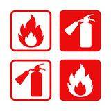 Fire safety vector stickers flame and fire extinguisher. Emergency Stock Photography