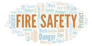 Fire Safety word cloud. Word cloud made with text only stock illustration