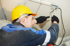 Fire safety works on smoke removal system Royalty Free Stock Photography