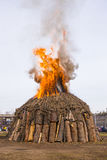 Fire of Saint Antonio in Nepi in Italy Royalty Free Stock Image