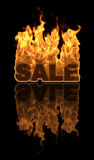 Fire Sale. The word SALE on fire with a reflection Stock Photos