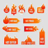 Fire Sale Flat Icon Set. Fire and flame sale clearance and hot deal text labels flat icon set isolated vector illustration Royalty Free Stock Photos