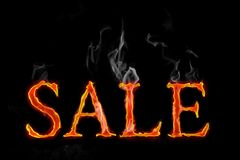 Fire Sales text in english. Language, letters with smoke Royalty Free Stock Photo